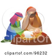 Royalty Free RF Clipart Illustration Of A Mary And Joseph Smiling Down On Baby Jesus by Prawny