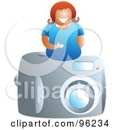 Royalty Free RF Clipart Illustration Of A Happy Woman On Top Of A Camera by Prawny