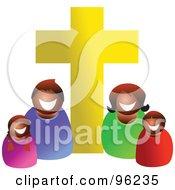 Happy Black Or Hispanic Christian Family Under A Golden Cross