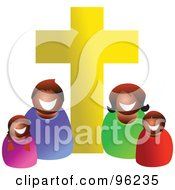 Royalty Free RF Clipart Illustration Of A Happy Black Or Hispanic Christian Family Under A Golden Cross