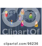 Royalty Free RF Clipart Illustration Of A Team Of Business People Scattered On A World Map