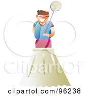 Royalty Free RF Clipart Illustration Of A Happy Man Standing On Top Of A Giant Shuttlecock
