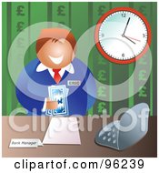 Royalty Free RF Clipart Illustration Of A Friendly Male Bank Manager Holding Euro Cash by Prawny