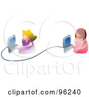 Royalty Free RF Clipart Illustration Of Two Women Working On A Business Network by Prawny