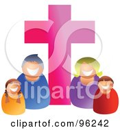 Royalty Free RF Clipart Illustration Of A Happy Caucasian Christian Family Under A Pink Cross