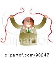 Royalty Free RF Clipart Illustration Of A Happy Businsesman Breaking Apart Red Tape