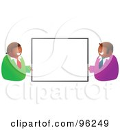 Royalty Free RF Clipart Illustration Of Two Happy Hispanic Businessmen Holding Up A Blank Sign