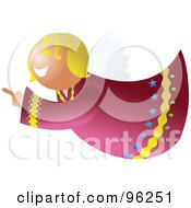 Royalty Free RF Clipart Illustration Of A Blond Flying Angel Pointing