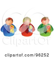 Royalty Free RF Clipart Illustration Of A Digital Collage Of Three Businessmen With Award Ribbons
