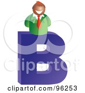 Royalty Free RF Clipart Illustration Of A Letter B Businessman by Prawny