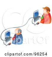 Royalty Free RF Clipart Illustration Of Two Businessmen Working On A Business Network