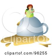 Royalty Free RF Clipart Illustration Of A Woman On Top Of A Tipped Over Coffee Cup by Prawny