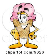 Clipart Picture Of An Ice Cream Cone Mascot Cartoon Character Pointing At The Viewer by Toons4Biz