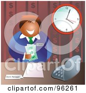Royalty Free RF Clipart Illustration Of A Friendly Male Bank Manager Holding American Cash by Prawny