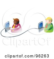 Royalty Free RF Clipart Illustration Of Two Businessmen Working On An Office Network by Prawny
