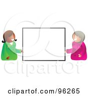 Royalty Free RF Clipart Illustration Of Two Friendly Businesswomen Holding Up A Blank Sign