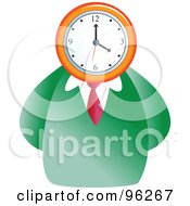 Royalty Free RF Clipart Illustration Of A Businessman With A Clock Face by Prawny