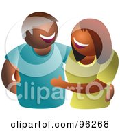 Royalty Free RF Clipart Illustration Of A Happy Smiling Faceless Hispanic Or Black Couple