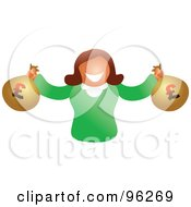 Royalty Free RF Clipart Illustration Of A Happy Woman Holding Two Bags Of Euro Money by Prawny
