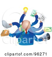 Royalty Free RF Clipart Illustration Of A Busy Businessman Handling Multiple Tasks At Once by Prawny