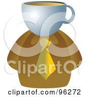 Royalty Free RF Clipart Illustration Of A Businessman With A Coffee Face by Prawny