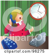 Royalty Free RF Clipart Illustration Of A Businesswoman Chatting On A Telephone While Sitting In Front Of A Laptop Computer by Prawny