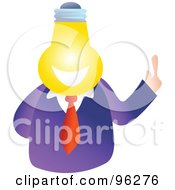 Royalty Free RF Clipart Illustration Of A Businessman With A Light Bulb Face by Prawny
