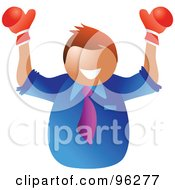 Royalty Free RF Clipart Illustration Of A Champion Businessman Smiling And Holding Up Boxing Gloves by Prawny