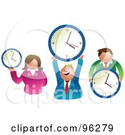 Royalty Free RF Clipart Illustration Of A Happy Businses Team Holding Round Clocks by Prawny