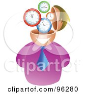 Royalty Free RF Clipart Illustration Of A Businessman With A Clock Brain