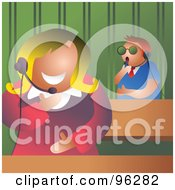 Royalty Free RF Clipart Illustration Of A Man And Woman Talking On Headsets In An Office