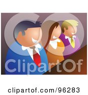 Royalty Free RF Clipart Illustration Of A Happy Business Team Smiling At A Meeting Table