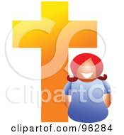 Royalty Free RF Clipart Illustration Of A Happy Christian Woman Under A Cross
