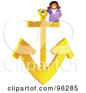 Royalty Free RF Clipart Illustration Of A Woman On A Yellow Anchor