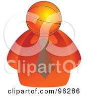 Royalty Free RF Clipart Illustration Of A Businessman With A Basketball Face by Prawny