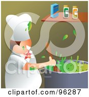 Royalty Free RF Clipart Illustration Of A Happy Chef Splattering Green Soup In A Kitchen by Prawny