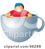 Royalty Free RF Clipart Illustration Of A Woman Inside A Giant Coffee Cup by Prawny