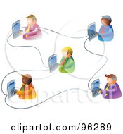 Royalty Free RF Clipart Illustration Of Five Businessmen Working On An Office Network by Prawny