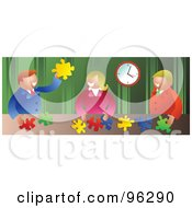 Royalty Free RF Clipart Illustration Of A Happy Business Team Assembling Puzzle Solutions At A Table