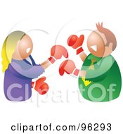 Royalty Free RF Clipart Illustration Of A Man And Woman Throwing Punches At Each Other During A Battle Of The Sexes by Prawny