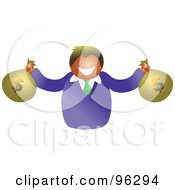 Royalty Free RF Clipart Illustration Of A Happy Man Holding Two Bags Of American Money