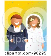 Royalty Free RF Clipart Illustration Of A Smiling Bride And Groom Holding Hands And Walking Through Confetti