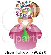 Royalty Free RF Clipart Illustration Of A Businessman With An Alphabet Brain by Prawny
