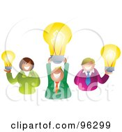 Royalty Free RF Clipart Illustration Of A Creative Business Team Smiling And Holding Up Light Bulbs by Prawny