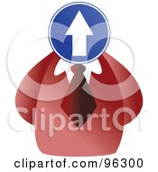 Royalty Free RF Clipart Illustration Of A Businessman With A Up Arrow Sign Face by Prawny