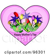 Spring Flowers And Happy Mothers Day Text In A Pink Heart