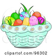 Royalty Free RF Clipart Illustration Of Grass And Easter Eggs In A Blue Daisy Basket