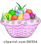 Grass And Easter Eggs In A Pink Daisy Basket