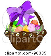 Purple Bow On A Basket Of Easter Eggs