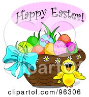 Royalty Free RF Clipart Illustration Of A Happy Easter Greeting Over A Chick And Easter Basket by Pams Clipart